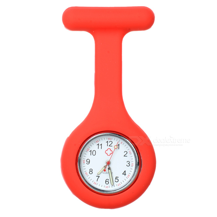 Silicone Brooch/Lapel Nurse Watch - Red (1*377 Included)