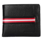 JINBAOLAI Men's Fashion Genuine Leather Card Holder Wallet Purse - Brown + Red