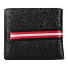 JINBAOLAI Men's Genuine Leather Card Holder Wallet- Brown + Red