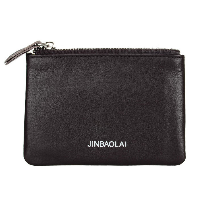 JINBAOLAI Unisex Leather Zipper Coin / Cash Wallet - Light Brown