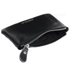 JINBAOLAI Unisex Leather Zipper Coin / Cash Wallet - Black