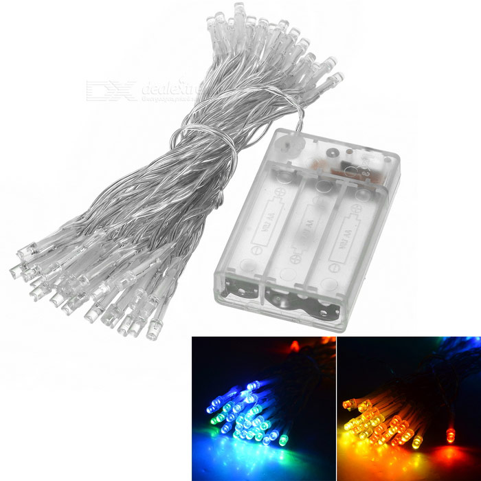 2-Mode 50-LED Multi-color Battery Light String for Christmas - White