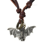 Bat Style Leather Necklace - Silver + Coffee