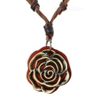 Stylish Retro Rose Style Cow Leather Pendant Necklace - Bronze