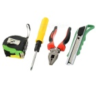ABS + Iron Pliers + Phillips Screwdriver + 200cm Measure Tape + Knife Tool Set - Red + Yellow