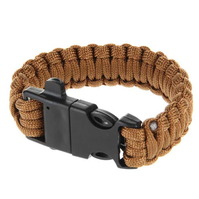 Outdoor Survival Multi-Purpose Paracord Bracelet w/ Fire Starter Flintstone & Safety Whistle - Brown(SKU 409498)