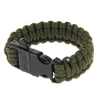 Outdoor Survival Multi-Purpose Paracord Bracelet w/ Fire Starter Flintstone & Whistle - Army Green