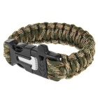 Outdoor Survival Multi-Purpose Paracord Bracelet w/ Fire Starter Flintstone & Whistle - Camouflage