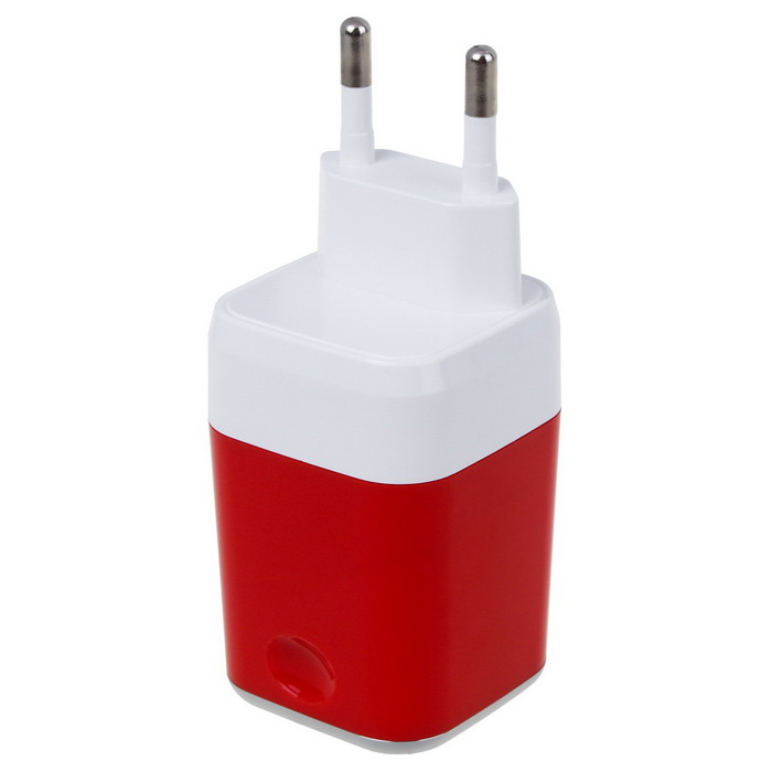 Universal 5V 2.1A Dual USB Travel Charger - White + Red (EU Plug)
