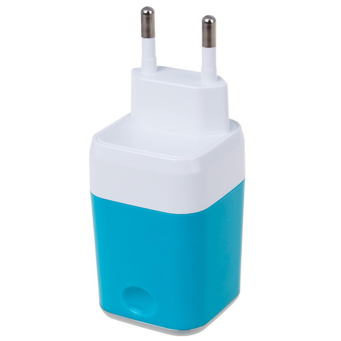 Universal 5V 2.1A Dual USB Travel Charger - Blue (EU Plug)