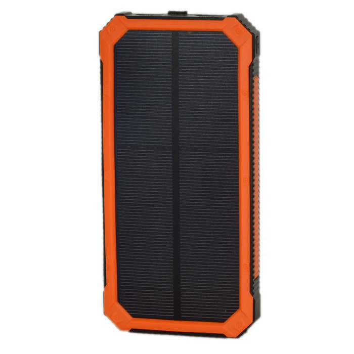 "2W ""30000mAh"" Solar Battery Power Bank w/ LED - Black + Orange"