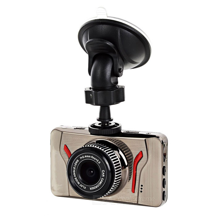 "T02 3"" TFT CMOS 140' Wide-Angle 3MP Car DVR Camcorder - Silver + Red"