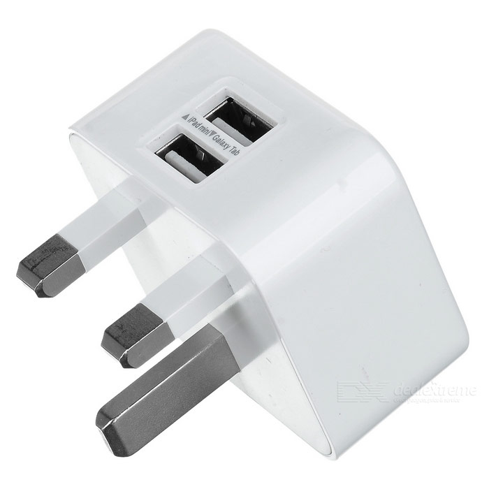 Universal 5V 3A Dual USB UK Plug Power Charger - White