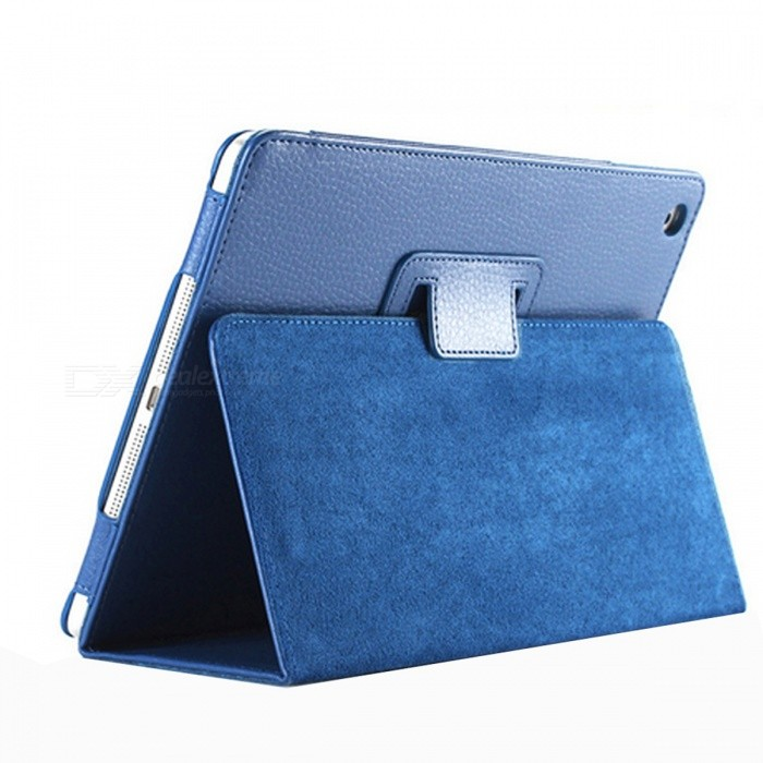 Litchi Pattern Protective PU Smart Case for IPAD MINI 4 - Deep Blue