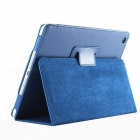 Litchi Pattern Protective Flip-Open PU Smart Case w/ 360' Rotation Stand for IPAD MINI 4 - Deep Blue