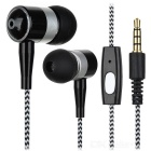3.5mm Jack In-Ear Earphones w/ Remote & Mic. - White + Black (2PCS)