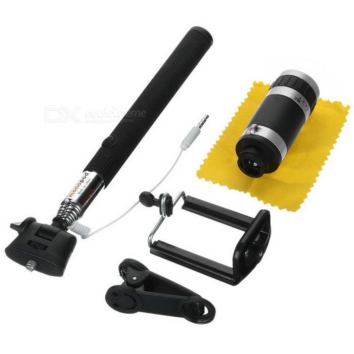 8X Zooming Telescope + 3.5mm Wire Control Selfie Stick + Clip - Black