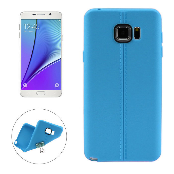 ENKAY Leather Texture TPU Back Case for Samsung Note 5 N9200 - Blue