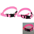 LED Flashing Night Safety Nylon Flat Collars for Pet Dog / Cat - Pink + Black (2 PCS / 2 x 2032)