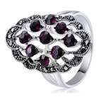 Xinguang Hollow Retro Purple Crystal Ring for Women - Silver (US Size 8)