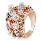 Xinguang Multi Crystal Pearl Ring - Rose Gold (US Size 8)