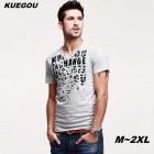 KUEGOU Men's paste letter pattern short-sleeve T-Shirt