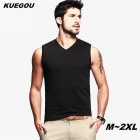 KUEGOU Men's plain colour  sleeveless v-neck T-Shirt