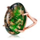 Xinguang Undersea World Style Imitation Emerald Ring for Women - Rose Gold (US Size 8)