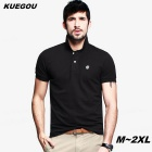 KUEGOU Men's plain colour short-sleeve Polo Shirt