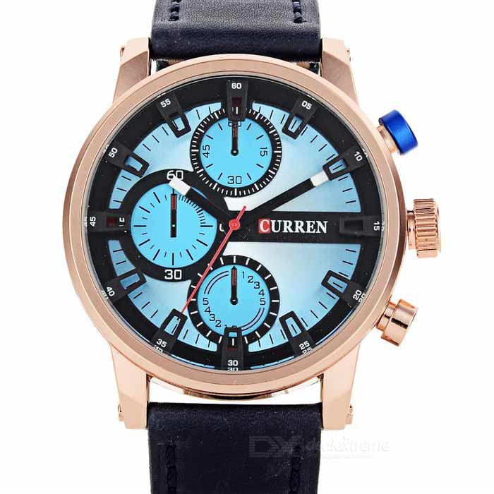 CURREN Men's PU Wristband Quartz Watch - Sapphire Blue + Golden(1*626)