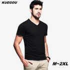 KUEGOU Men's black and white hit color short-sleeve v-neck T-Shirt