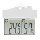 -9~50°C Mini Indoor Outdoor Digital Thermometer / Hygrometer - White