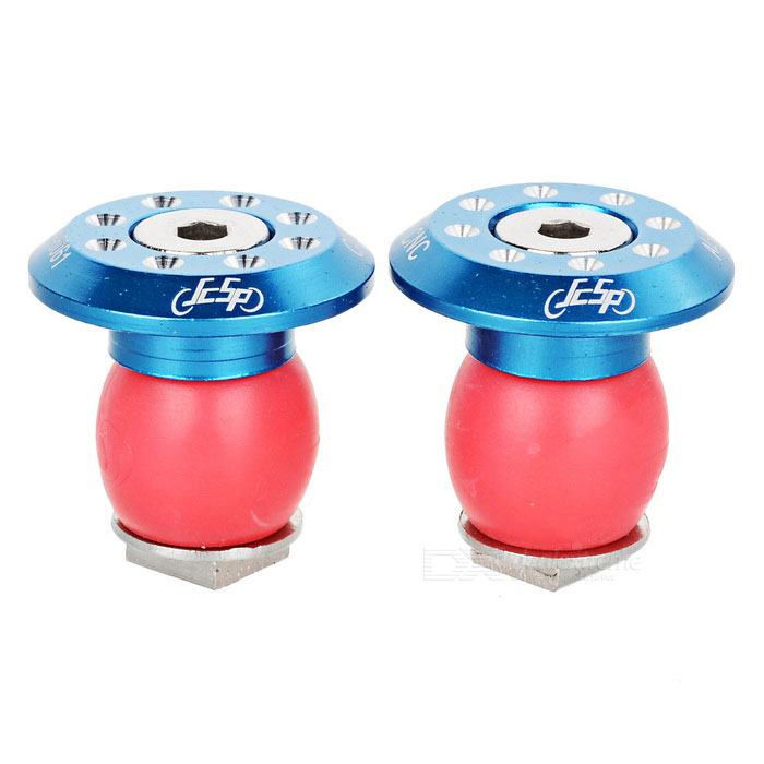JCSP S-117 Aluminum Bike Handlebar End Plugs - Blue + Red (2PCS)