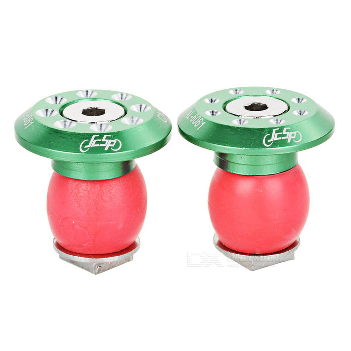 JCSP S-117 Aluminum Bike Handlebar End Plugs - Green + Red (2PCS)
