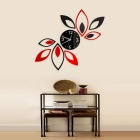 Fashion Home Decoration Lotus Style DIY 3D Sticker Wall Clock - Red + Black