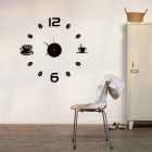 DIY Home Decorative Modern Design Number Coffee Cup Sticker Wall Clock - Silver