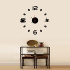 Home Decor Modern Design Number Coffee Cup Sticker Wall Clock - Silver
