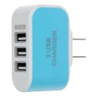 Jtron 3-Port USB 3.1A Power Adapter Charger - Blue + White (US Plug)