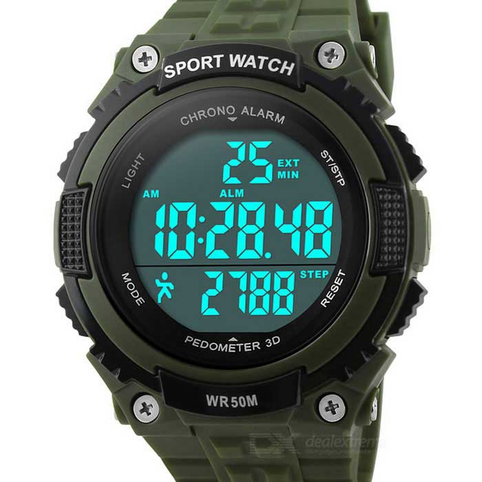SKMEI 50m Waterproof Outdoor Sports Watch w/ Pedometer - Army GreenSport Watches<br>Form ColorArmy GreenQuantity1 DX.PCM.Model.AttributeModel.UnitShade Of ColorGreenCasing MaterialABSWristband MaterialPUSuitable forAdultsGenderUnisexStyleWrist WatchTypeSports watchesDisplayDigitalBacklightBlueMovementDigitalDisplay Format12/24 hour time formatWater ResistantWater Resistant 5 ATM or 50 m. Suitable for swimming, white water rafting, non-snorkeling water related work, and fishing.Dial Diameter4.5 DX.PCM.Model.AttributeModel.UnitDial Thickness1.4 DX.PCM.Model.AttributeModel.UnitWristband Length24 DX.PCM.Model.AttributeModel.UnitBand Width2 DX.PCM.Model.AttributeModel.UnitBattery1 x CR2032Packing List1 x Watch<br>