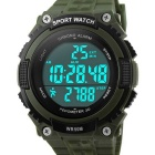 SKMEI 50m Waterproof Outdoor Sports Wrist Watch w/ Pedometer - Army Green (1 x CR2032)