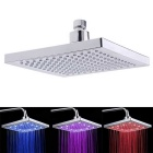 20 x 20cm Square Temperature Sensor 3 Color LED Shower Head Sprinkler - Silver