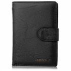 Stylish Top Layer Cow Leather Folded Cards Holder Wallet Purse w/ Coin Pocket for Men - Black