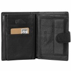 Men's Top Layer Cow Leather Cards Holder Wallet w/ Coin Pocket - Black