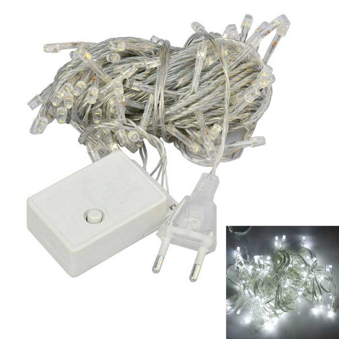 JIAWEN 4W 100-LED 8-Mode White Light Christmas String Lights (10m)LED String<br>Form ColorTransparentColor BINWhiteModel10M-100D-CWMaterialPVCQuantity1 DX.PCM.Model.AttributeModel.UnitPowerOthers,4WRated VoltageAC 220 DX.PCM.Model.AttributeModel.UnitEmitter TypeLEDTotal Emitters100Color Temperature6000-6500KWavelengthN/ATheoretical Lumens280-320 DX.PCM.Model.AttributeModel.UnitActual Lumens280-320 DX.PCM.Model.AttributeModel.UnitPower AdapterEU PlugPacking List1 x String Lights<br>