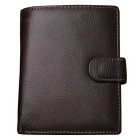 Stylish Top Layer Cow Leather Folded Cards Holder Wallet Purse w/ Coin Pocket for Men - Coffee