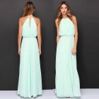 Women's Fashion Sexy Halter Sleeveless Chiffon Long Maxi Dress - Green (L)