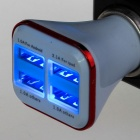5V 5.1A 4-USB Quick Car Charger Adapter - White + Red (12~24V)