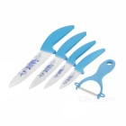 "3"" / 4"" / 5"" / 6"" Chef Knife + Slicer + Peeler + Covers Kitchen Ceramic Knife Set - Blue + White"