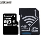 KINGSTON  Wi-Fi 16GB MicroSDHC Class 10 Flash Memory Card + Wi-Fi SD Adapter