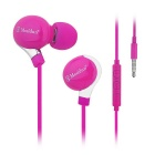 Mosidun 3.5mm Plug Super Sereo Bass Noise Isolating In-Ear Earphone w/ Mic - Deep Pink